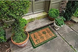 Williamsburg Topiary Handwoven Coconut Fiber Doormat Green Casual Rectangle Coir