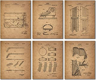 Hockey Patent Prints - Set of 6 Vintage Wall Art Photos