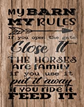My Barn Rules Horse lovers and equestrian poster prints - Decorate your home, office or barn. Reclaimed wood background will compliment decor. Frame NOT included (8x10, Barn Rules (One Print))