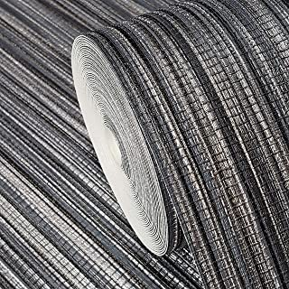 76 sq.ft rolls Portofino textured Italian wallcoverings modern embossed Vinyl Wallpaper charcoal gray black silver metallic faux grasscloth Bamboo design textures roll coverings 3D paste the wall only
