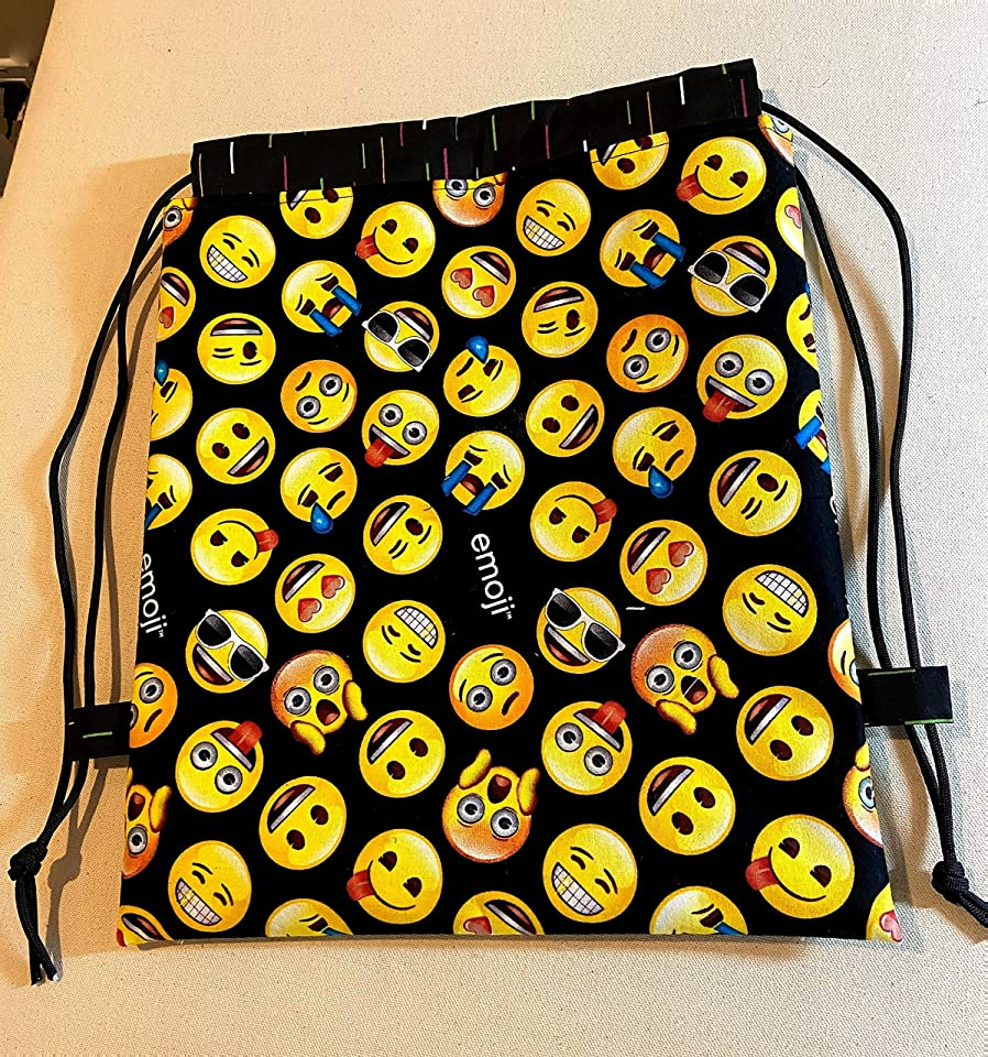 Handmade Drawstring Backpack with Emojis, Lined Drawstring Gym Bag, Toy Sack, Paracord Drawstring