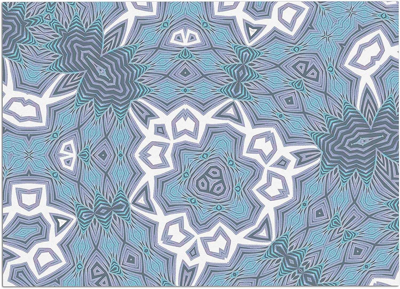 KESS InHouse AC1117ADM02 Alison Coxon Tribal Air bluee White Dog Place Mat, 24 x15