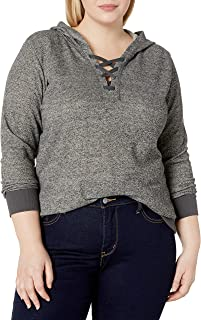 JUST MY SIZE Women`s Plus Size Hoodie with Lace-up Collar