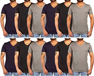 12 Pack of Men's Cotton Colored V-Neck T-Shirts - Available in Small to XXXLarge