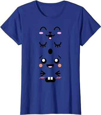 Cute Kawaii Emoji Japanese Cartoon Faces T-shirt