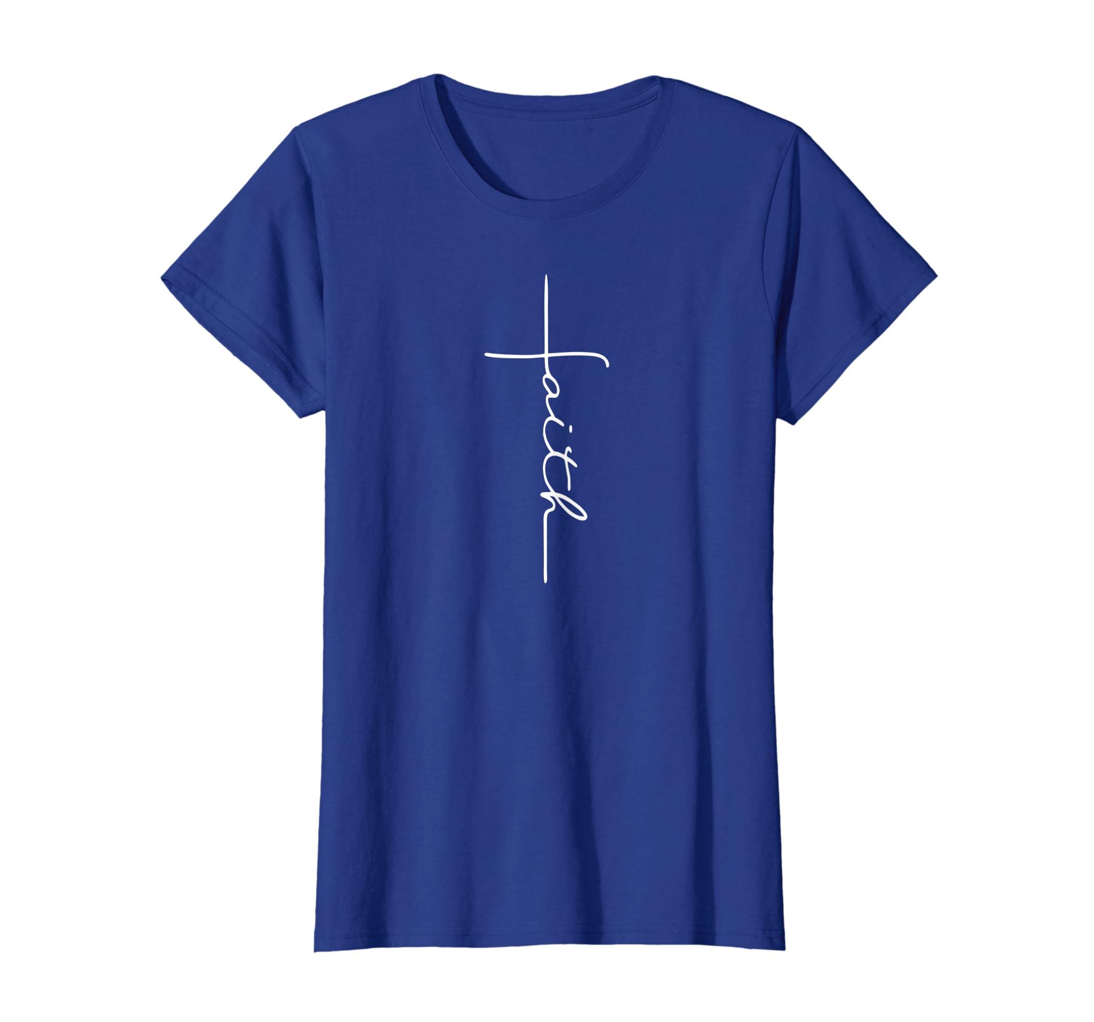 8a81c5358 Amazon.com: Faith Cross T-Shirt Christian T Shirt for Men Women Kids:  Clothing