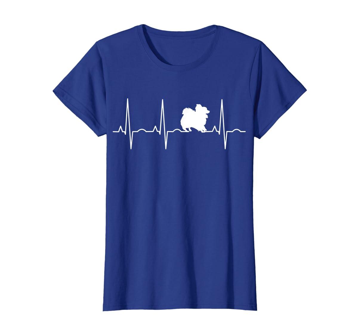 Pomeranian Heartbeat T-Shirt Pom Shirt Gifts Dog Lover-Women's T-Shirt-Royal
