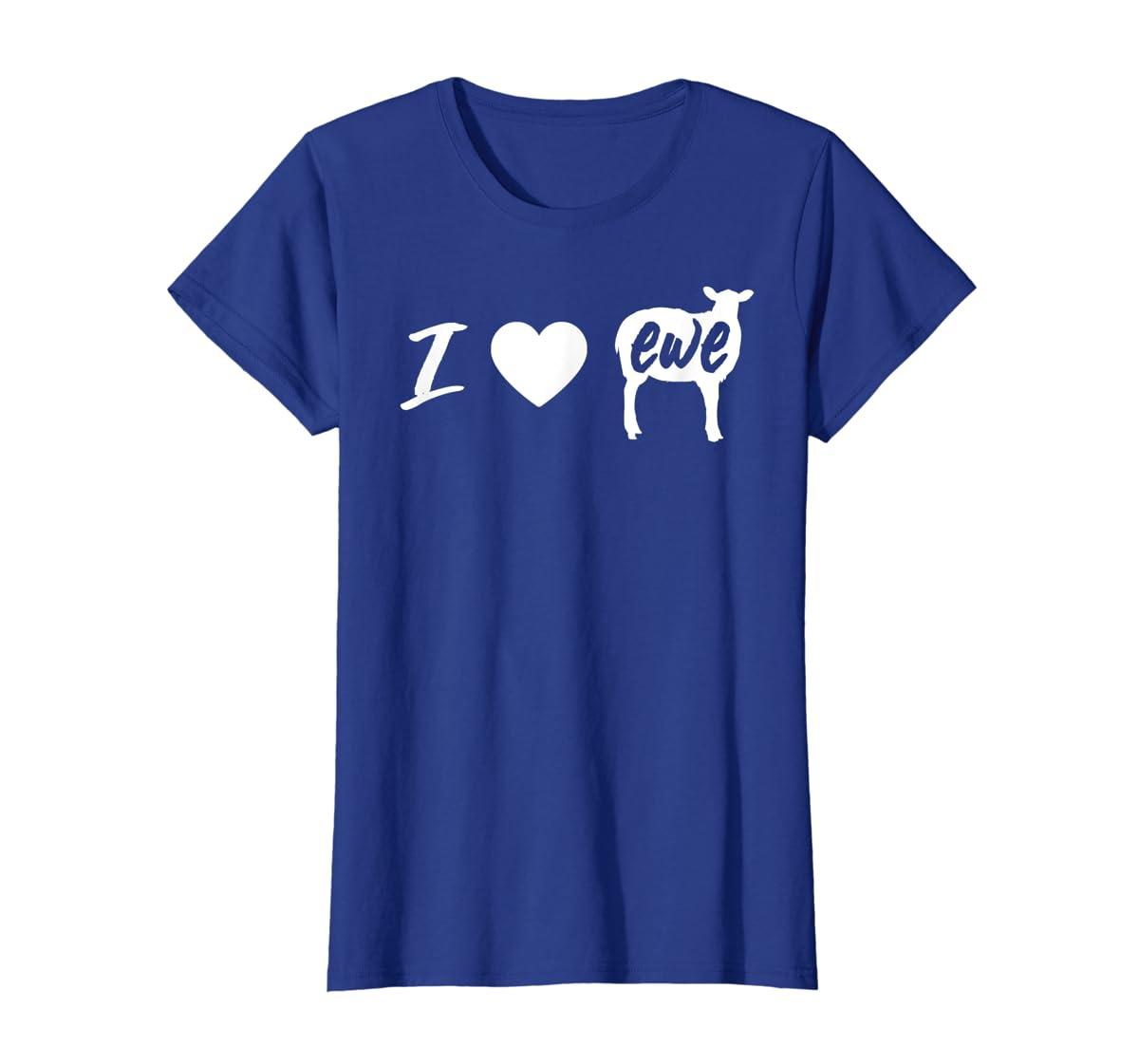 I Love Ewe - I Love You Sheep Pun Shirt-Women's T-Shirt-Royal