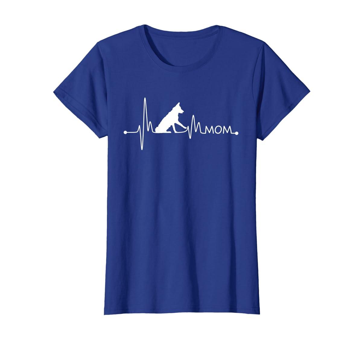 Womens Border Collie Heartbeat Mom Shirt Ekg Pulse Collie Lover Tee-Women's T-Shirt-Royal