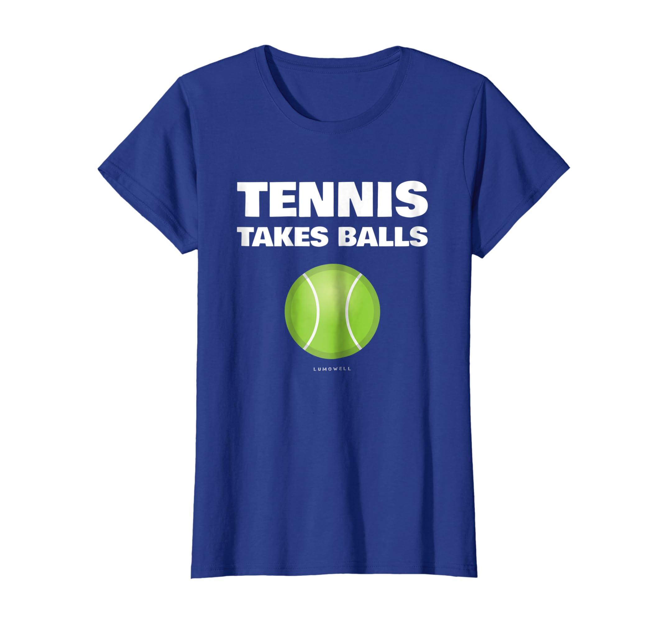 132cbb361 Amazon.com: Funny Tennis T Shirts - Tennis Takes Balls T-Shirt: Clothing