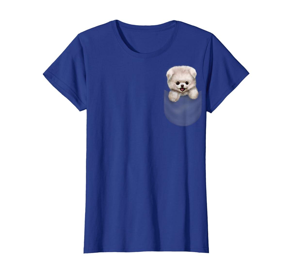 T-Shirt, Cute White Fluffy Pomeranian Puppy in Pocket, Dog-Women's T-Shirt-Royal