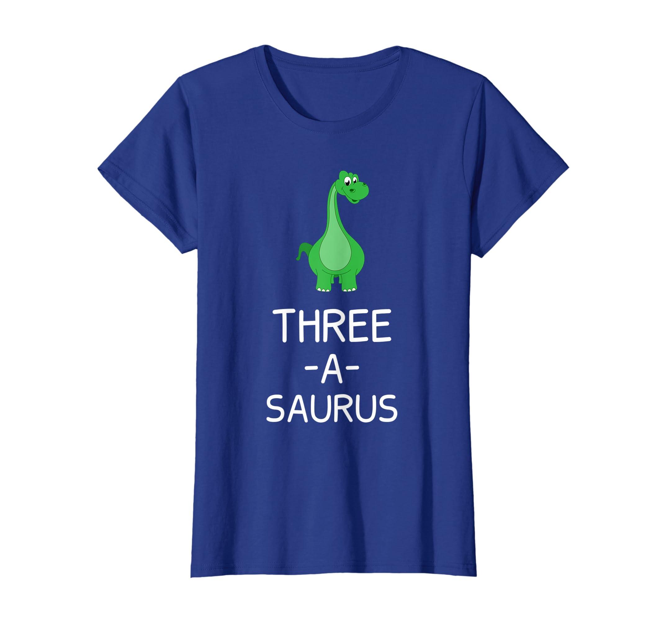 Amazon Three A Saurus Birthday Growing Up Age T Shirt Clothing