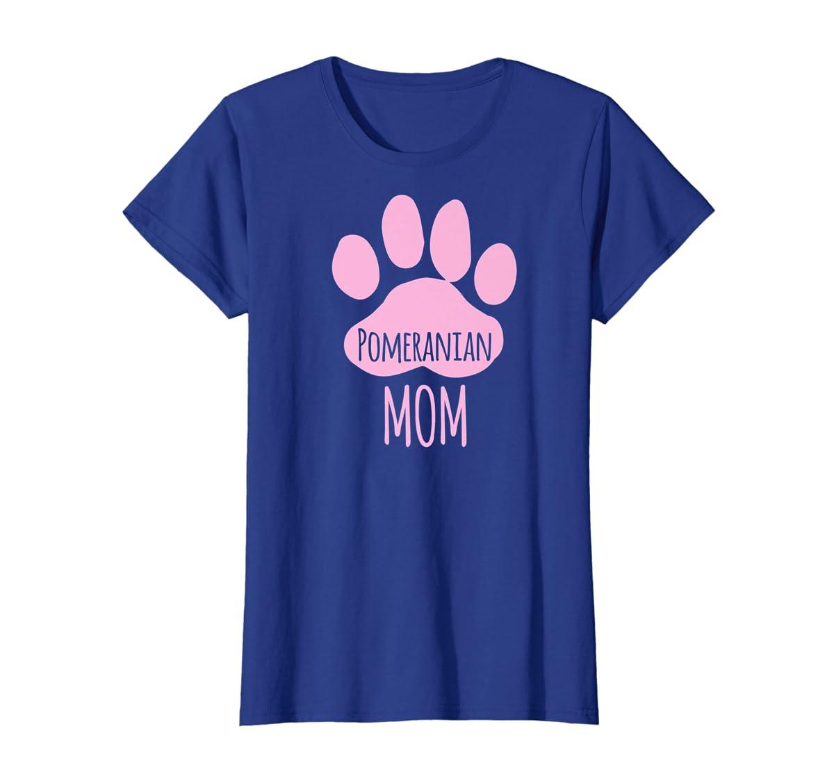 Cute Pomeranian Mom T Shirt for Pom Owner Dog Paw Pink-Women's T-Shirt-Royal