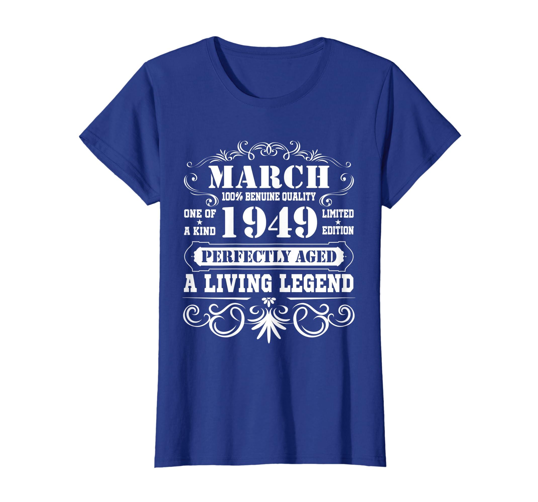 Amazon March 1949 Retro T Shirt Vintage 70th Birthday Decorations Clothing
