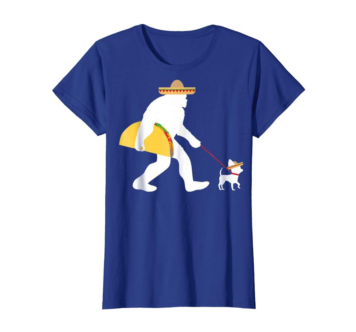 Bigfoot Taco Sombrero Chihuahua Dog Cinco de Mayo T-shirt-Women's T-Shirt-Royal