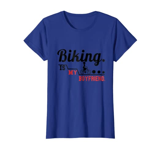 e9a608845 Image Unavailable. Image not available for. Color  Women s Cute Funny Biking  Is My Boyfriend Cyclist T-shirts
