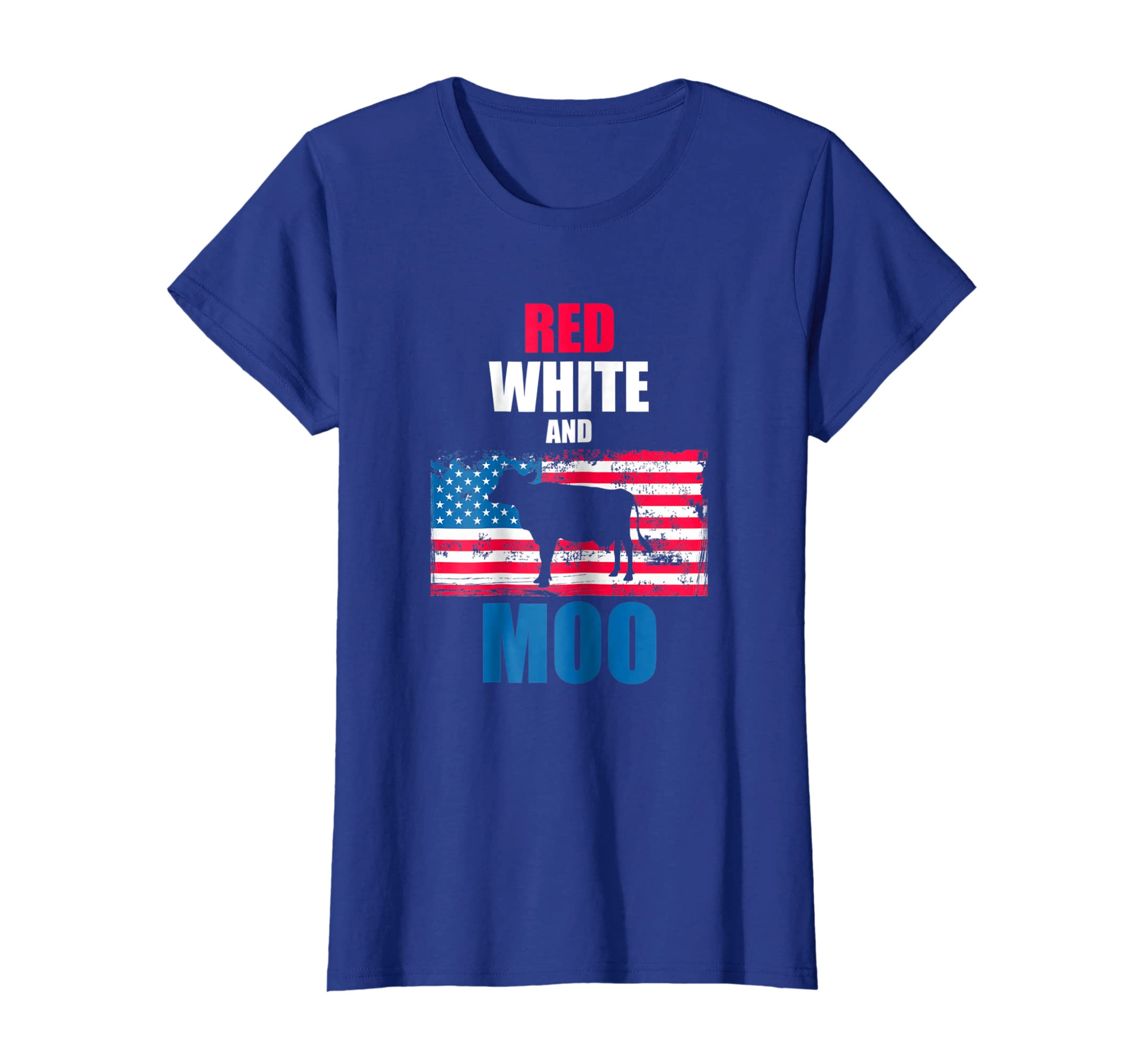 8a314c07 Amazon.com: Red White and Moo Patriotic USA Flag Cow T-Shirt: Clothing