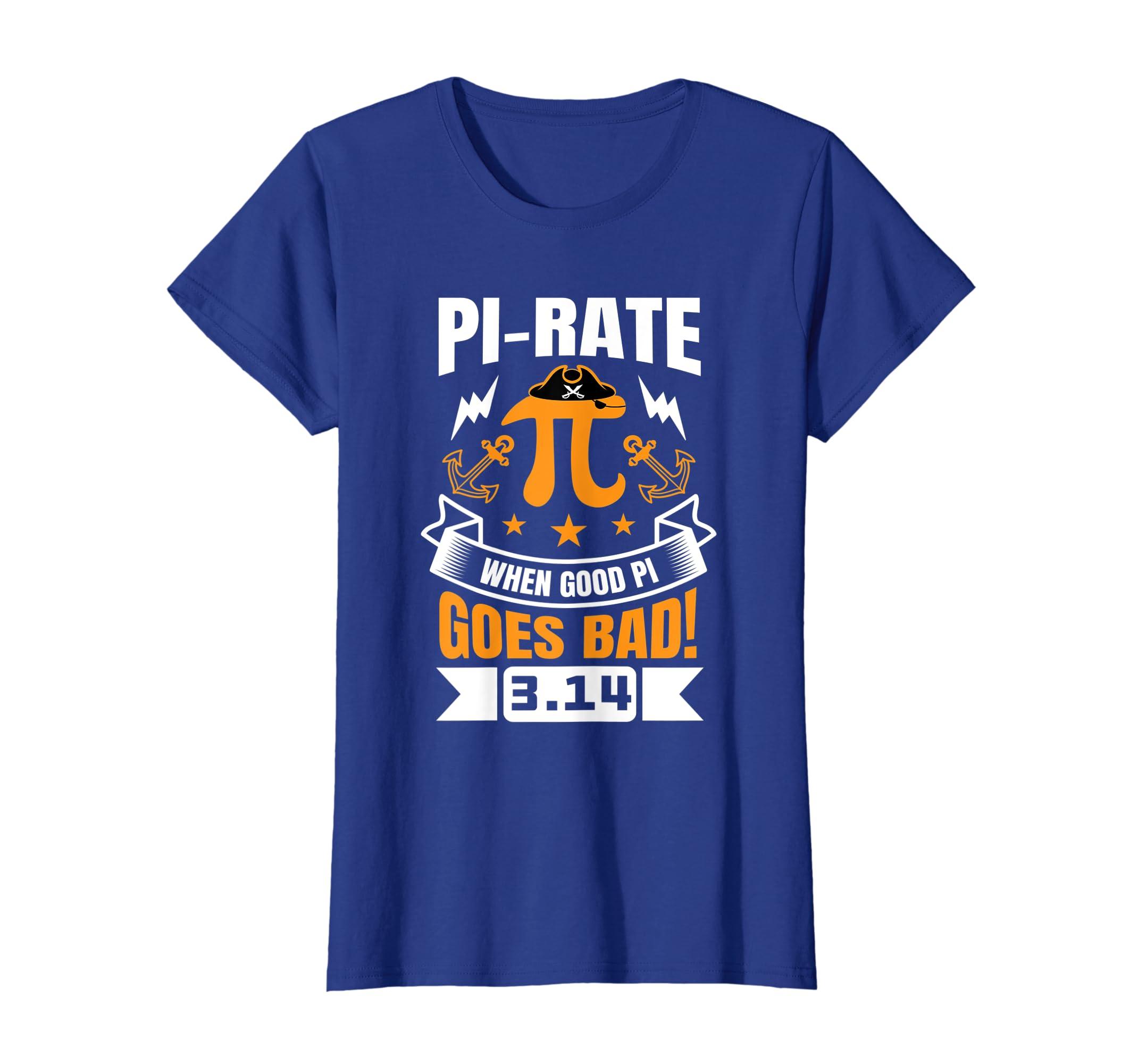 ad5de0c6 Amazon.com: Funny Pi Day T-Shirt Pirate Love Geek Nerd Math teacher Tee:  Clothing