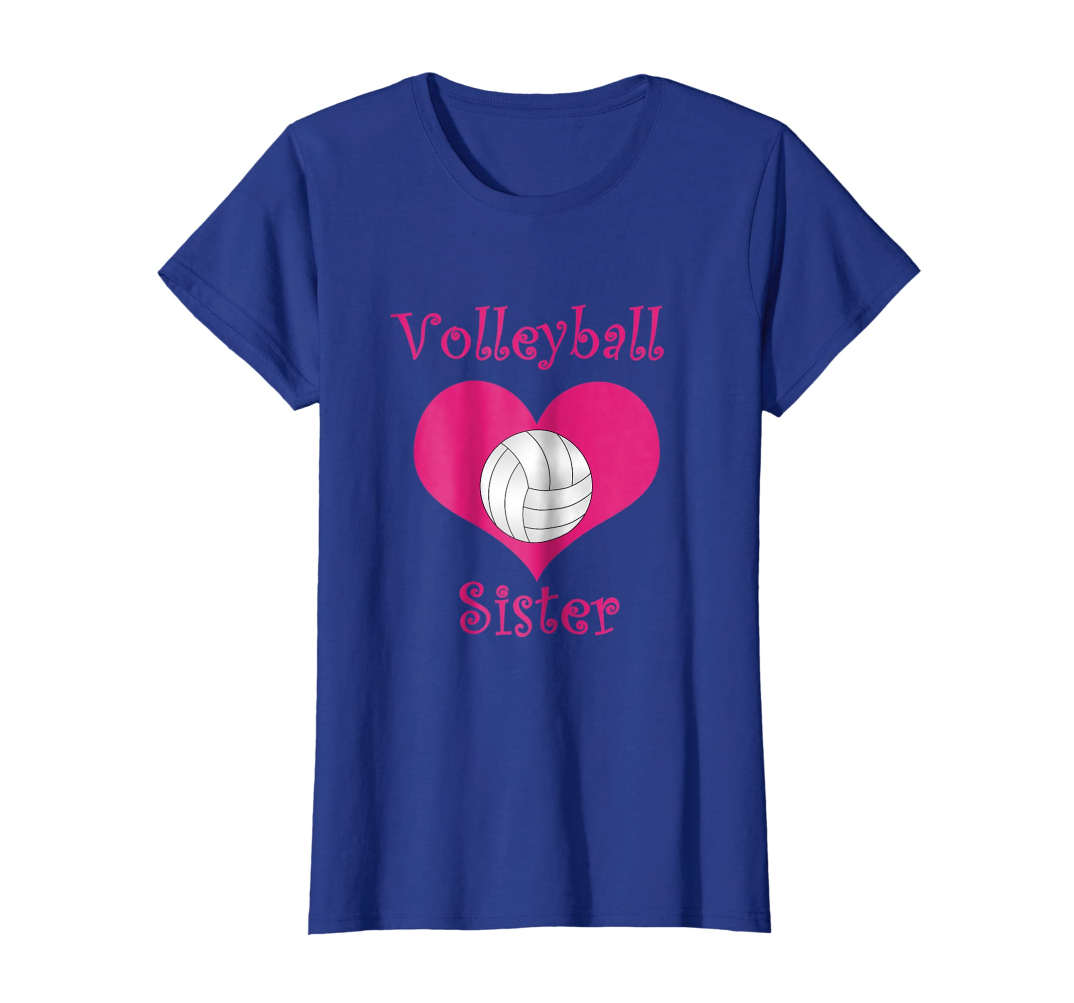 202caeb1 Amazon.com: Girly pink volleyball sister heart T-Shirt: Clothing