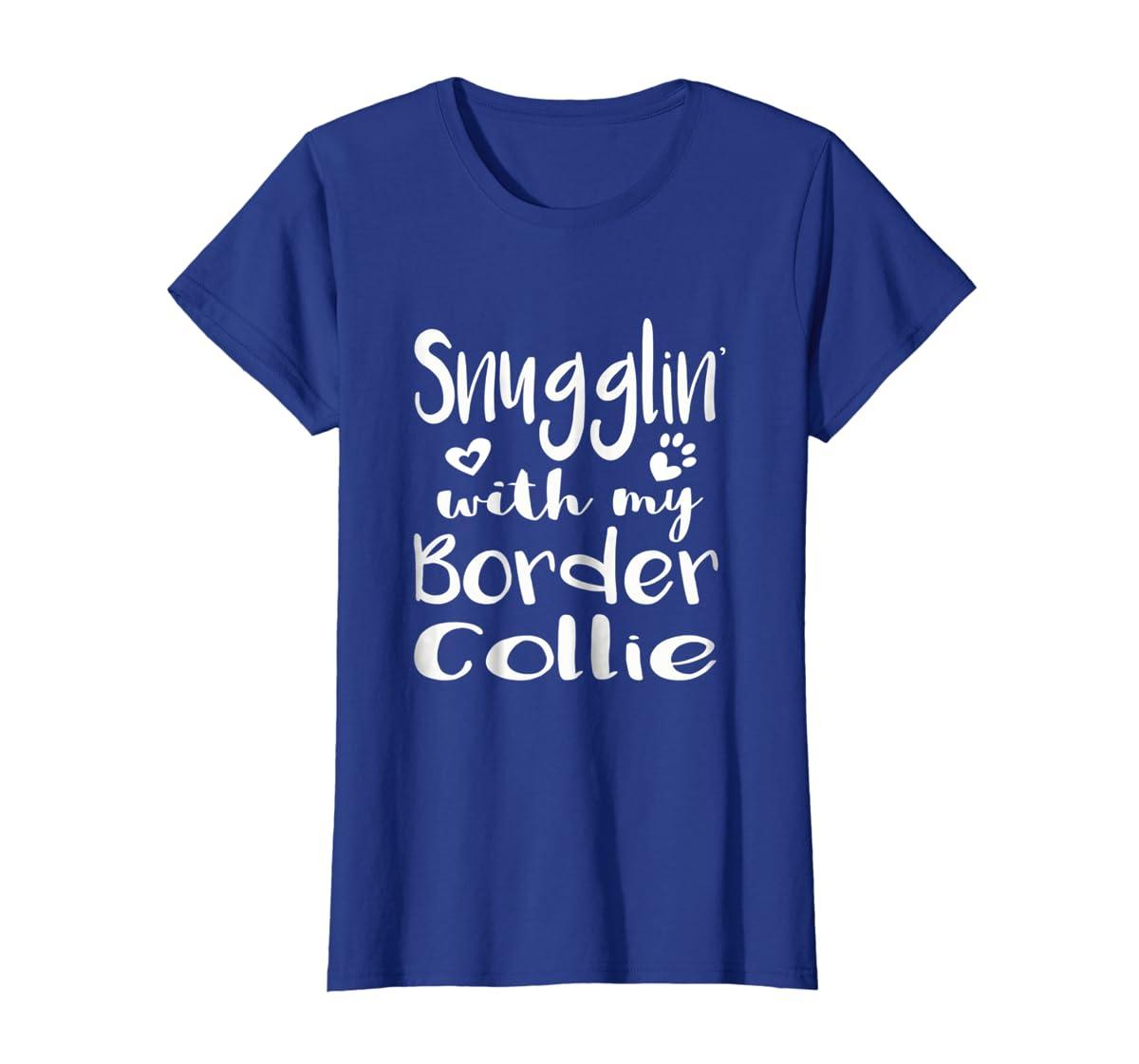 Snuggling with my Border Collie Shirt - Dog Mom pajamas-Women's T-Shirt-Royal