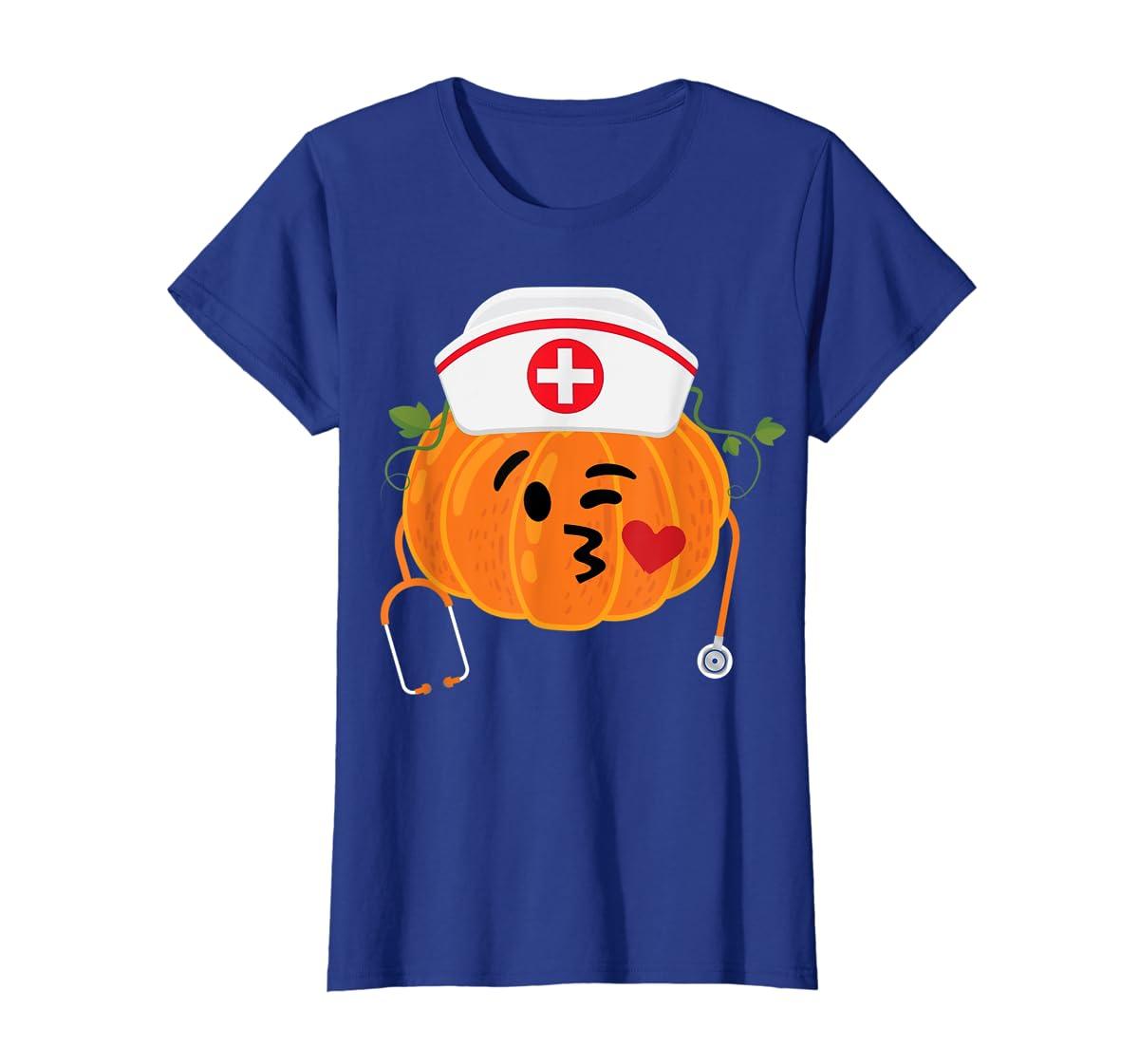 Nurse Stethoscope Pumpkin Funny Nursing Halloween Gift T-Shirt-Women's T-Shirt-Royal