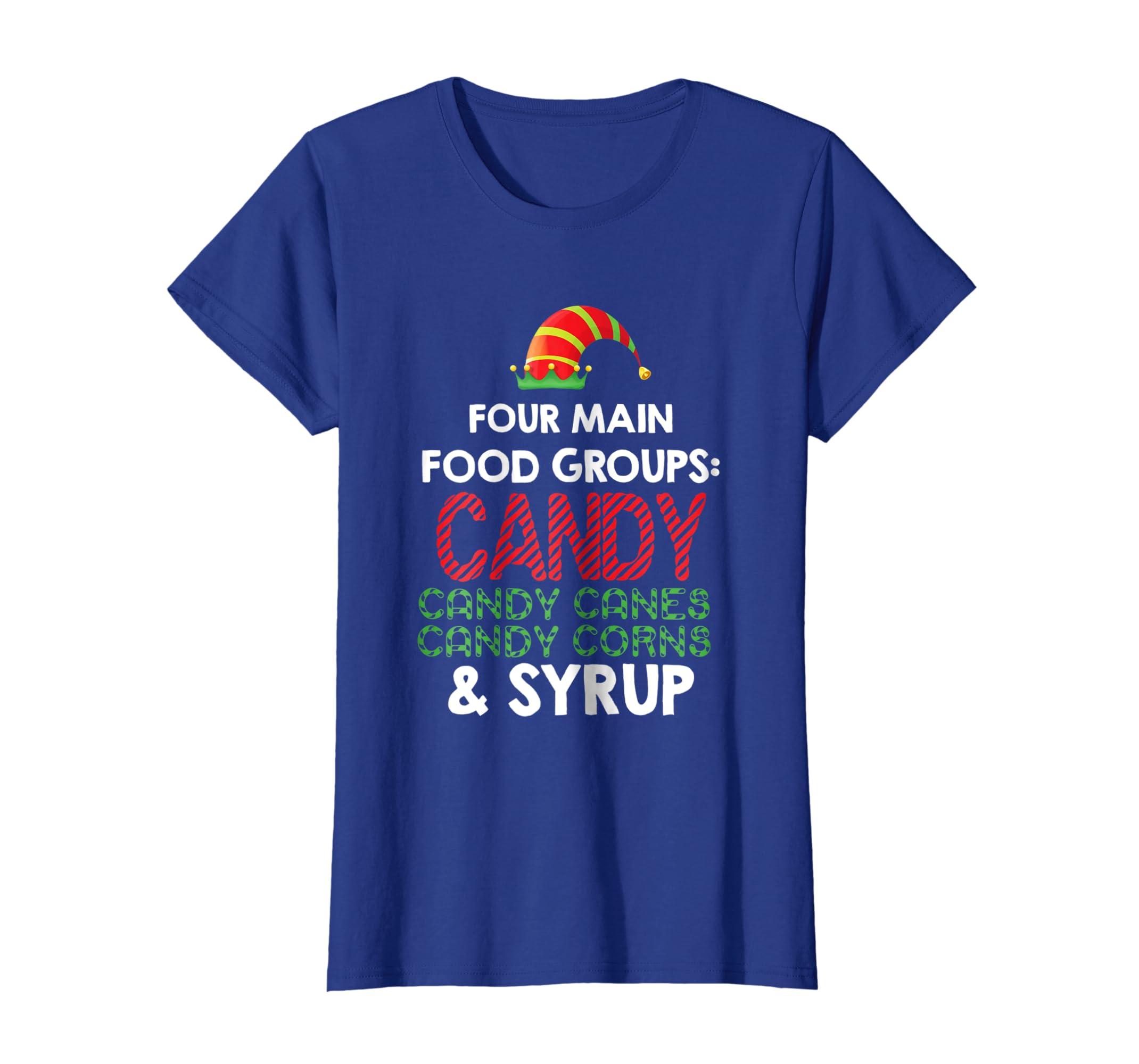 Amazon 4 Main Food Groups Elf Buddy Christmas T Shirt Clothing