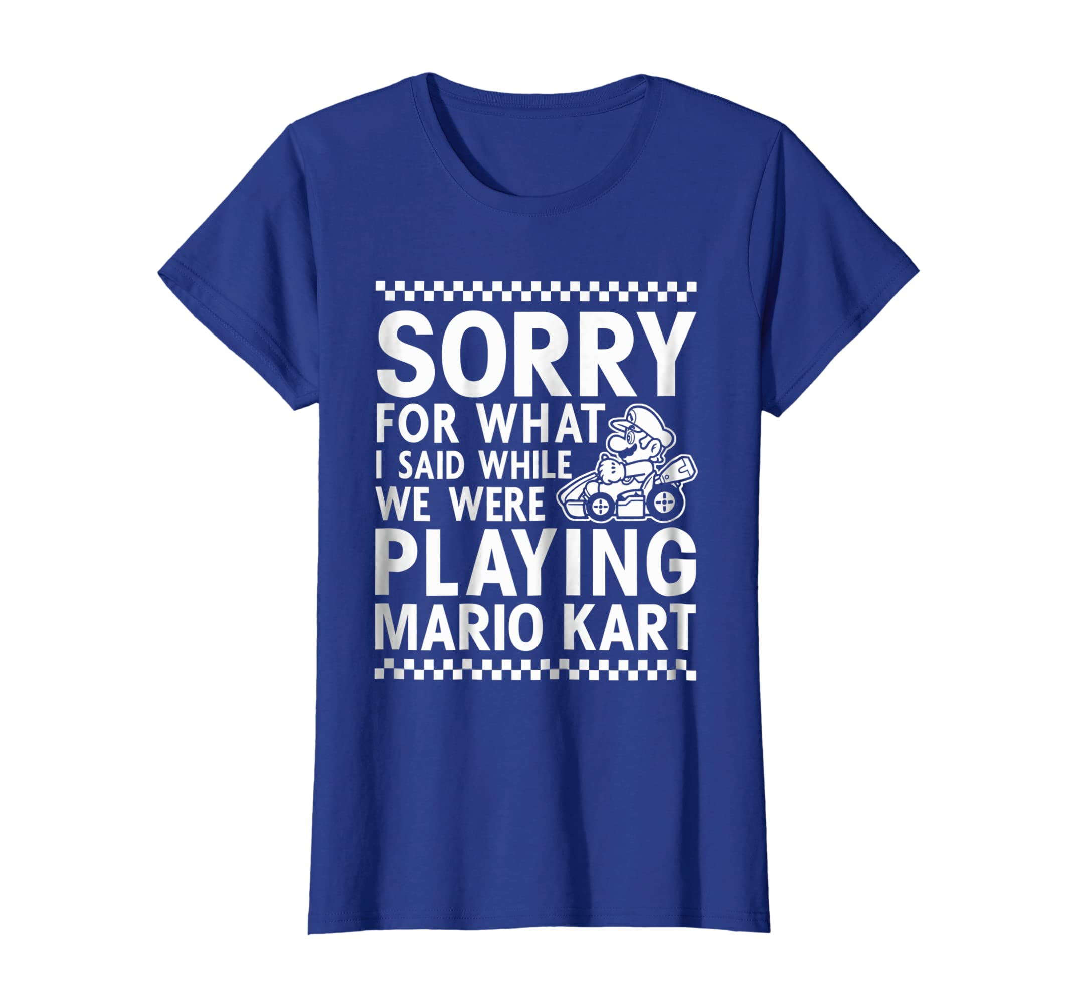 4a1d72aec Amazon.com: Nintendo Mario Kart Checkered Sorry Graphic T-Shirt: Clothing