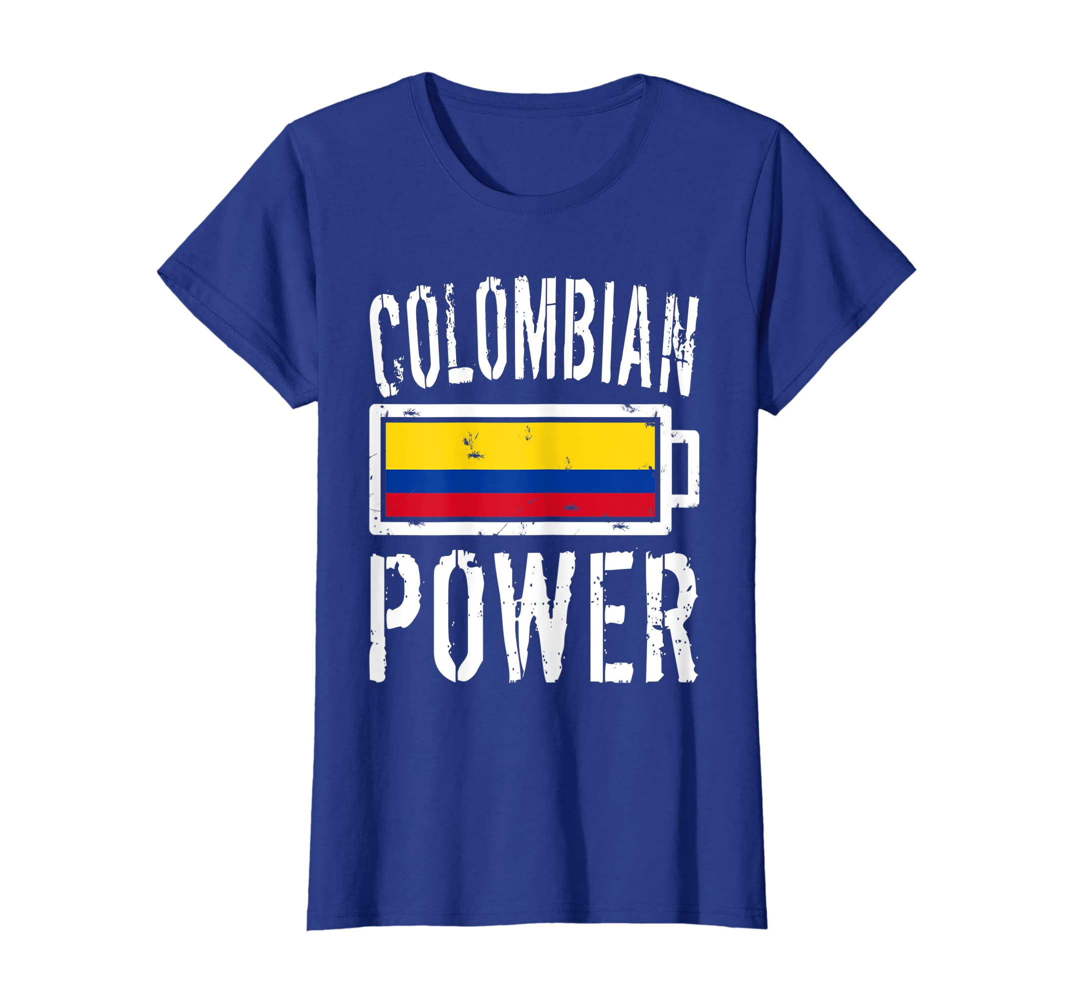 cd965d1ff12 Amazon.com: Colombia Flag T-Shirt | Colombian Power Battery Proud Tee:  Clothing
