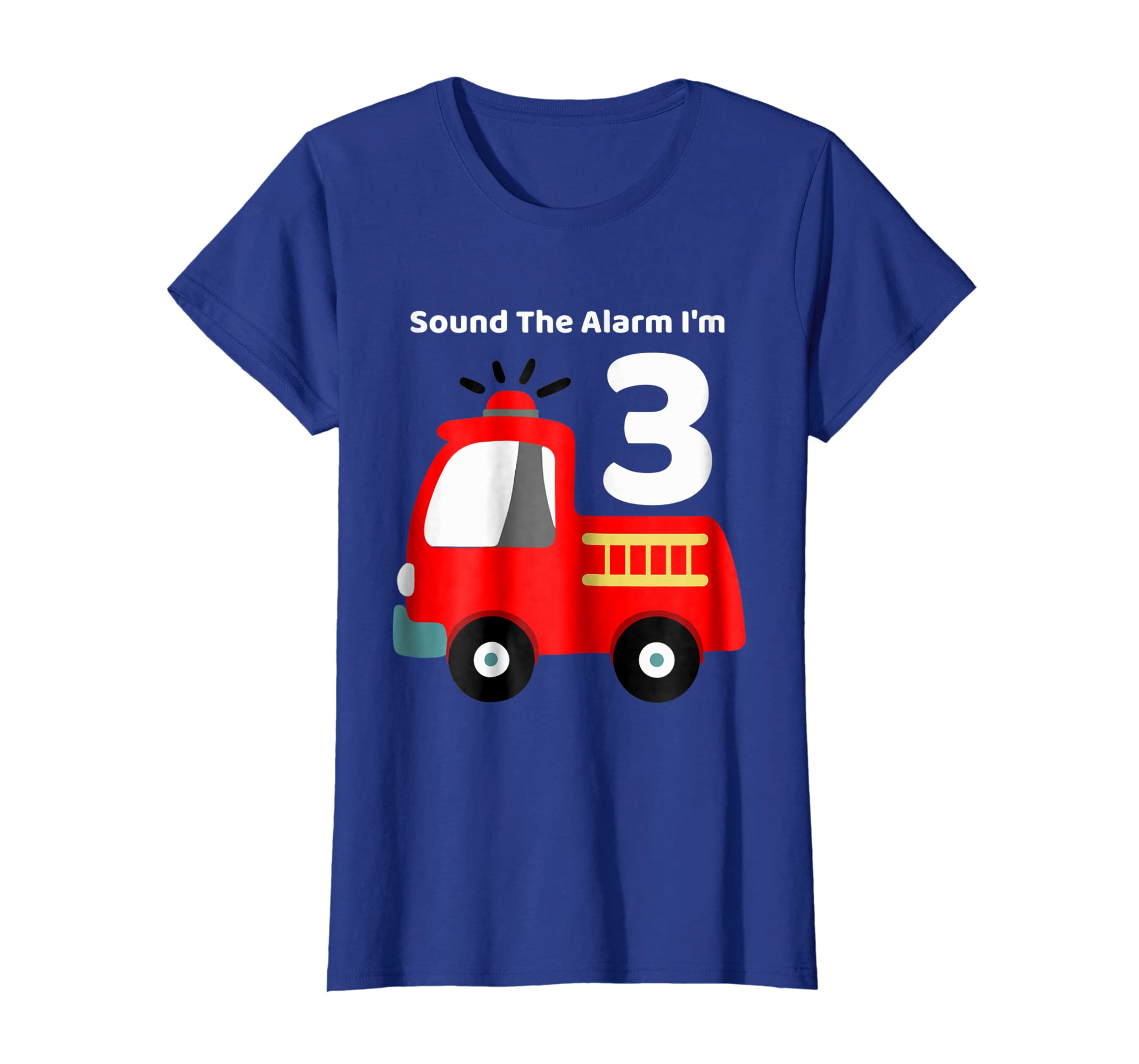 Amazon Fire Fighter Truck 3 Year Old Birthday Shirt