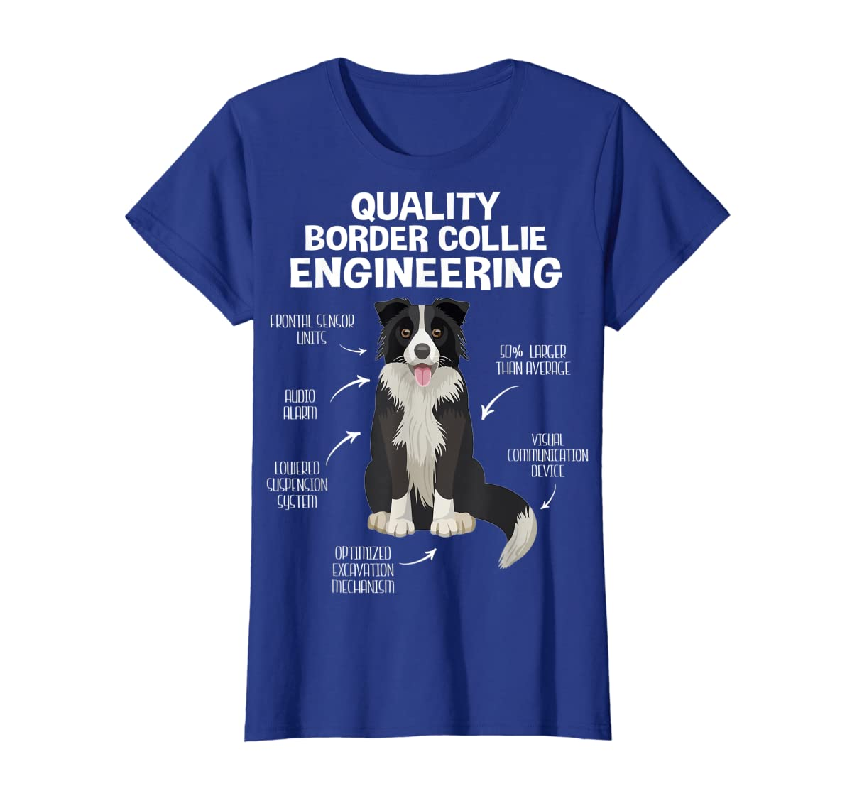 Quality Border Collie Engineering Dog Lover Gift T-Shirt-Women's T-Shirt-Royal