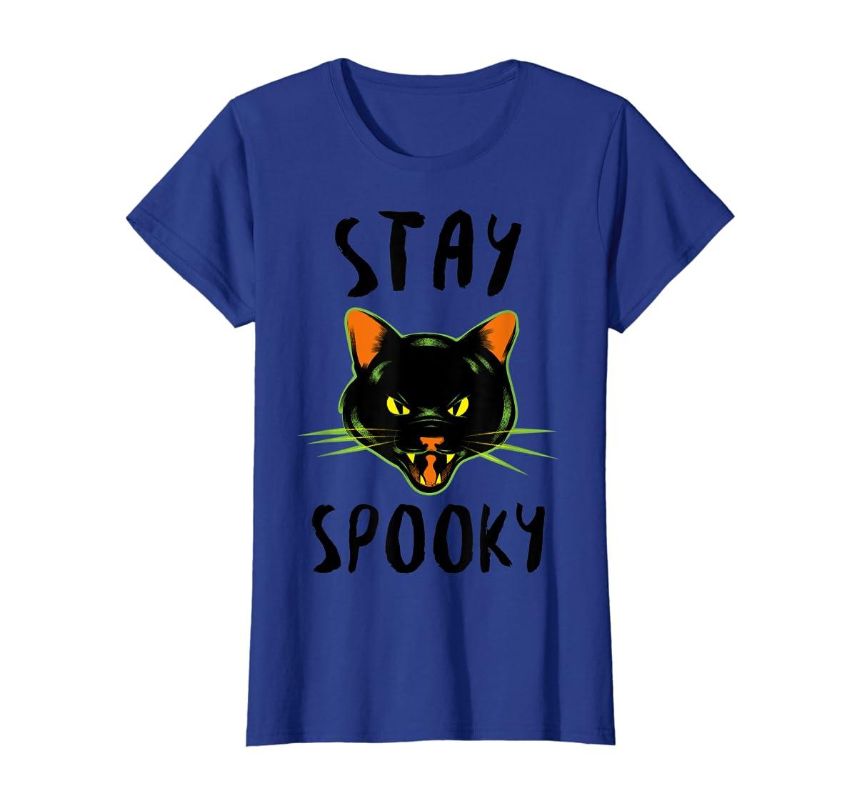 Stay Spooky | Scary Halloween Black Cat T-Shirt-Women's T-Shirt-Royal