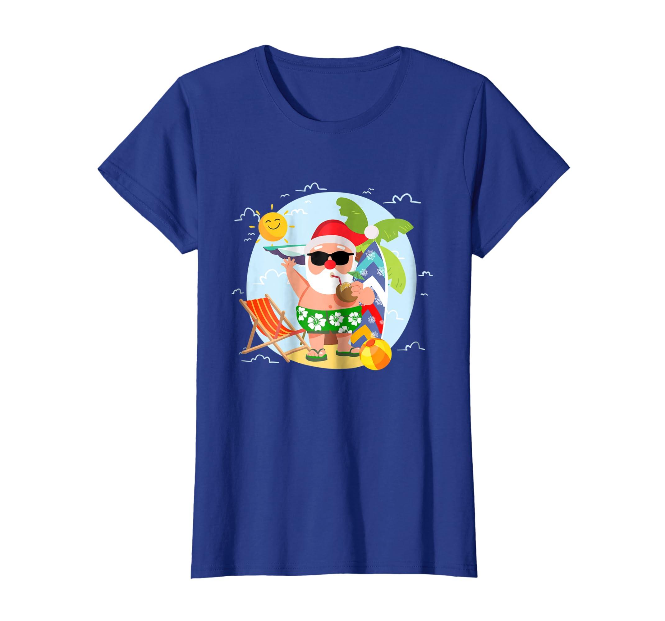 0cfd0766e66 Amazon.com  Santa Claus Surfing Hawaiian Shirt Summer Christmas Outfit   Clothing