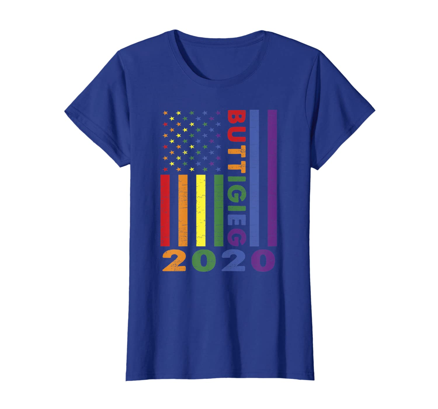 Buttigieg 2020 Distressed Rainbow LGBT Pride Flag T-Shirt-Loveshirt