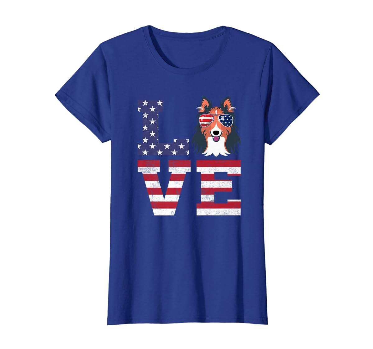 Love Rough Collie Dog American Flag 4th of july Shirt-Women's T-Shirt-Royal