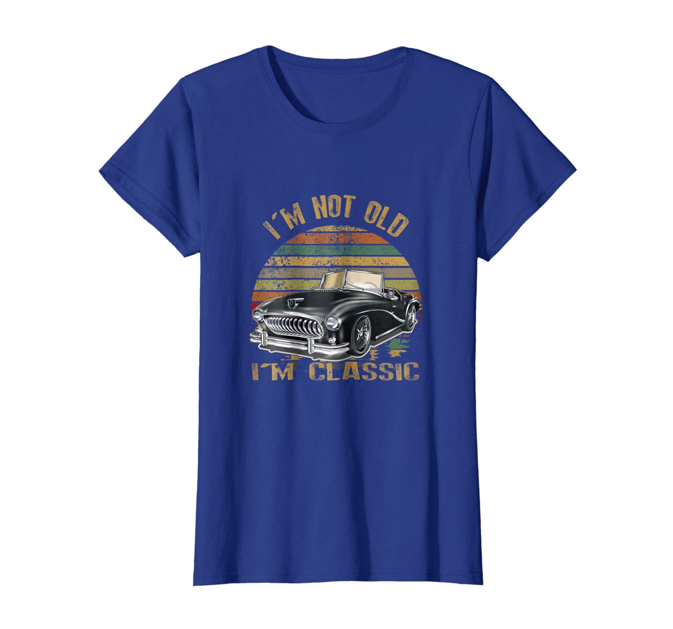 fe19f95b Amazon.com: I'm not old I'm classic car funny Retro Car t-shirt: Clothing