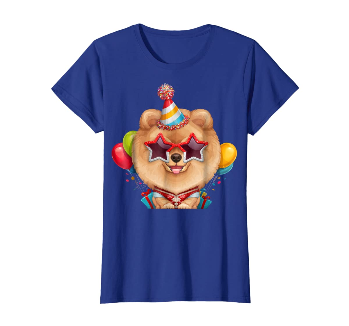 Orange Pomeranian in Glasses Birthday T-Shirt-Women's T-Shirt-Royal