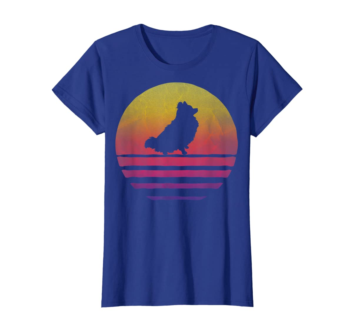 Retro Vintage Sunset Pomeranian Dog Lover Silhouette Gift T-Shirt-Women's T-Shirt-Royal