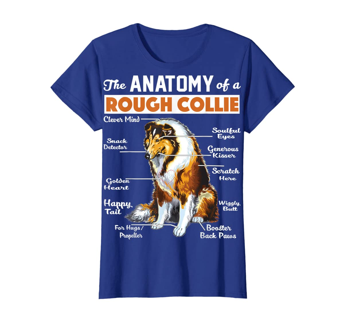 The Anatomy Of A Rough Collie-Women's T-Shirt-Royal