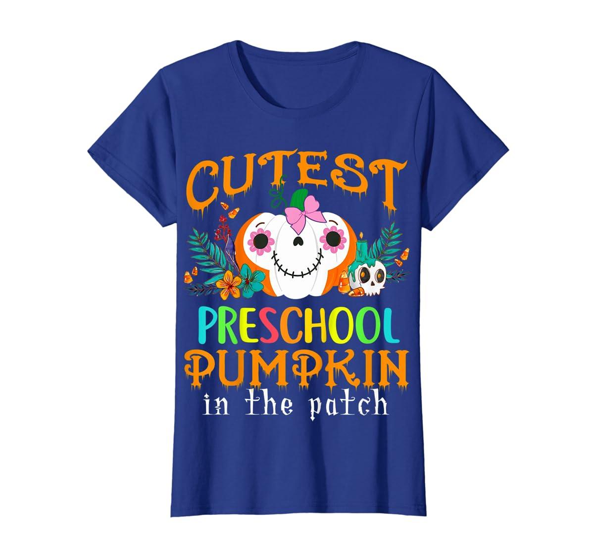 Kids Cutest Preschool Pumpkin In The Patch Halloween Costume Girl T-Shirt-Women's T-Shirt-Royal