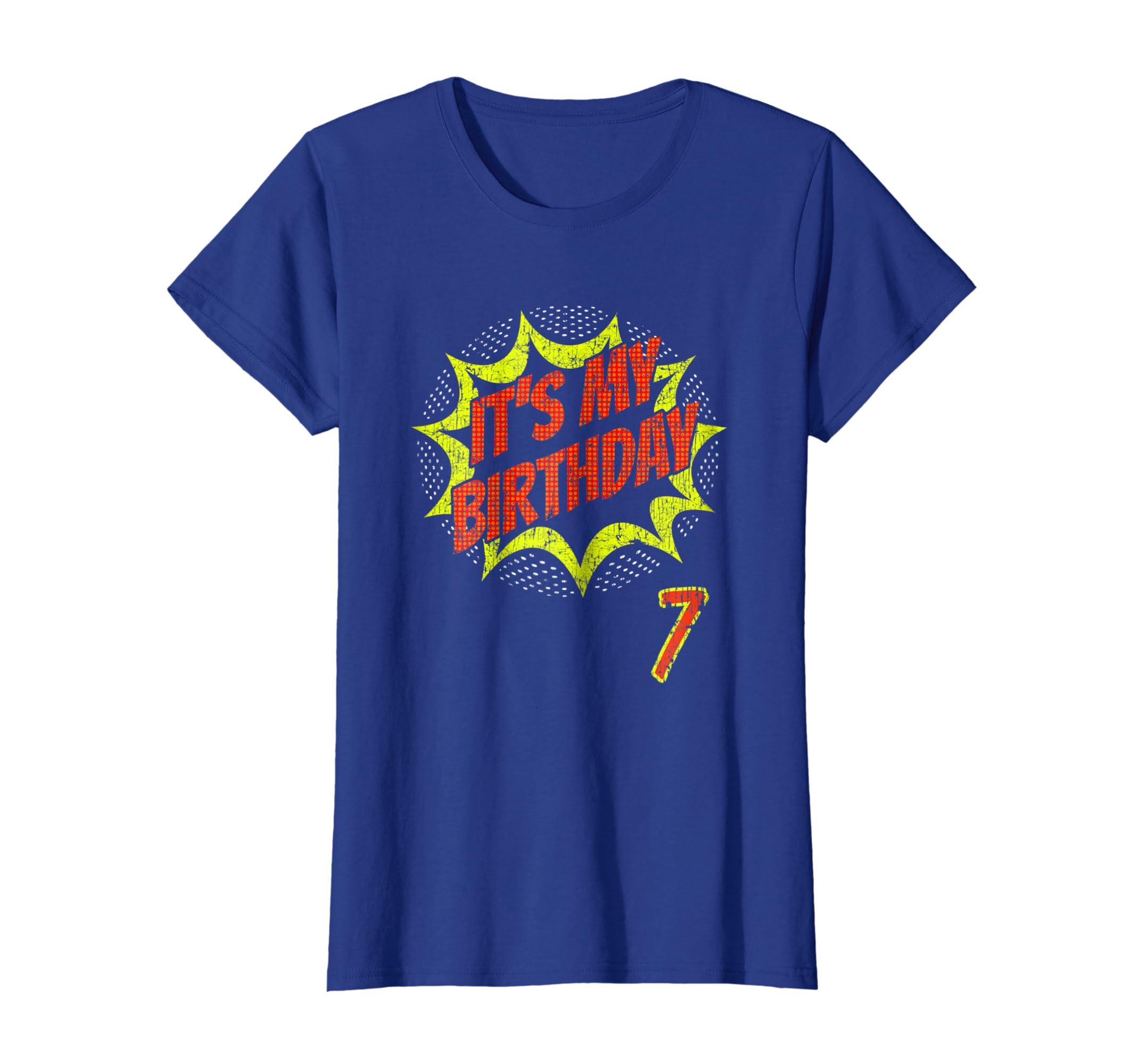 Amazon Superhero Birthday Shirt 7 Year Old 7th BDay Super Hero Gift Clothing