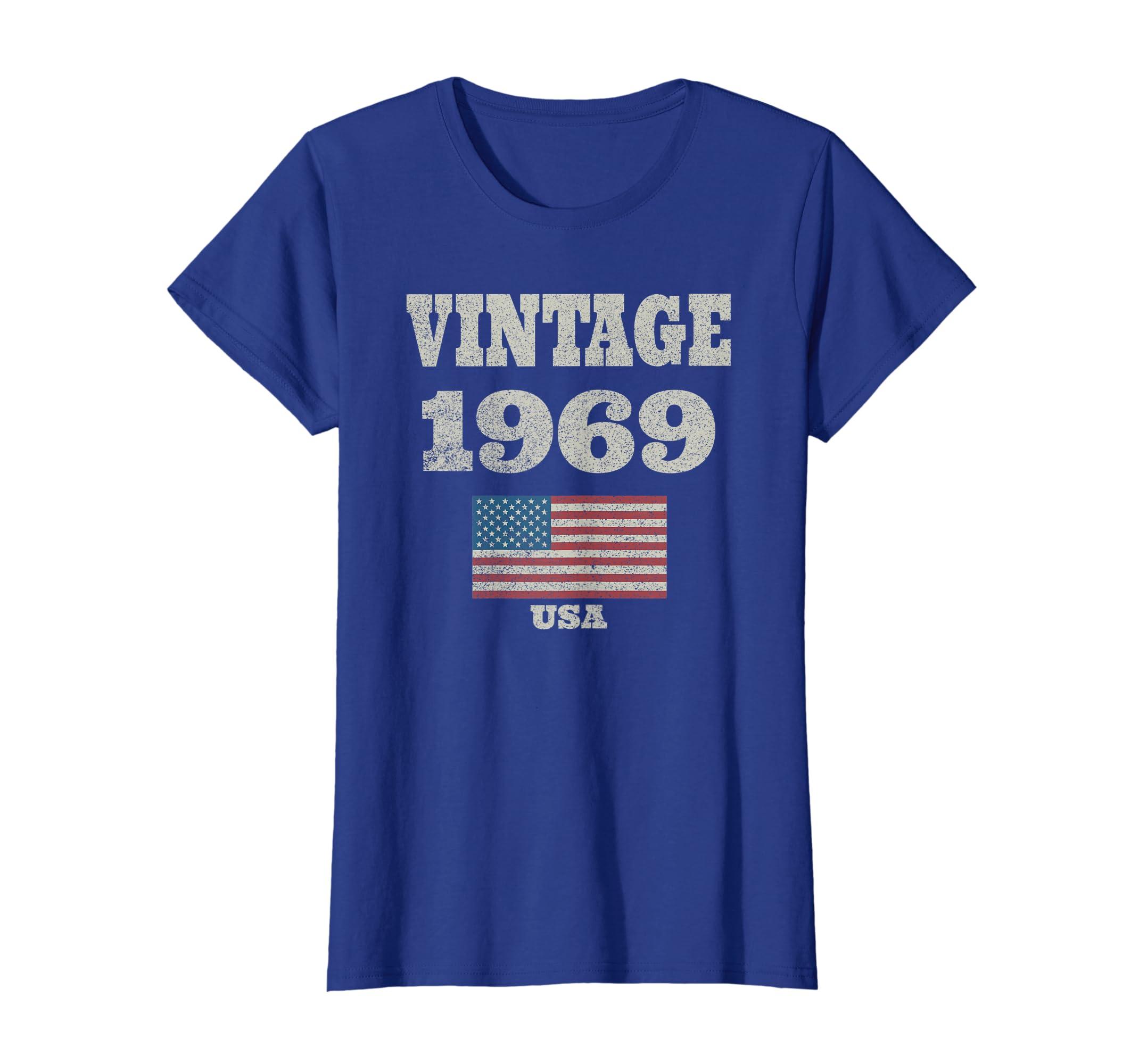 Amazon 50th Birthday Gift Vintage USA Flag 1969 T Shirt Design Clothing