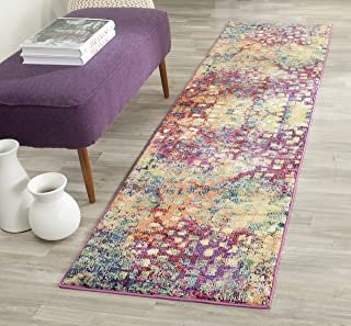 Safavieh Monaco Collection MNC225D Modern Abstract Watercolor Pink and Multi Area Rug (2'2