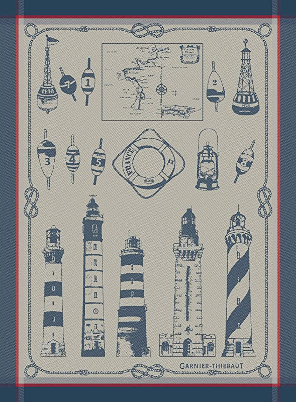 Garnier Thiebaut Phares Et Balises Lighthouses And Buoys Bretagne French Jacquard Kitchen Towel 100 Percent Cotton 22 Inches X 30 Inches