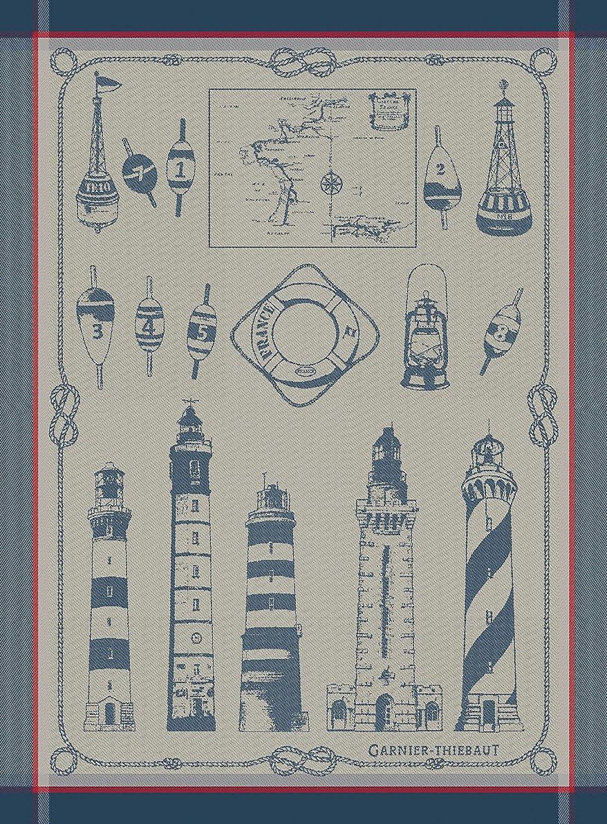 虚偽軸前提Garnier Thiebaut、Phares Et Balises (灯台とBuoys )、ブルターニュフランスジャカードキッチンタオル、100パーセントコットン、22インチx 30インチ