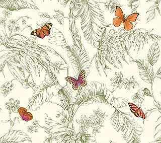 York Wallcoverings Ashford Toiles Papillon Removable Wallpaper, Green/Orange