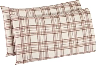 Stone & Beam Rustic Plaid Flannel Pillowcase Set, King, Ivory and Cream