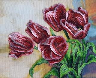 Bead Embroidery kit Spring Tulips Beaded Cross Stitch Needlepoint Handcraft Tapestry kit