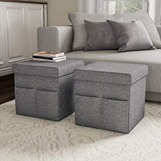 Lavish Home Foldable Storage Cube Ottoman with Pockets – Multipurpose Footrest Organizer for Bedroom, Living Room, Dorm or RV (Pair, Charcoal Gray),