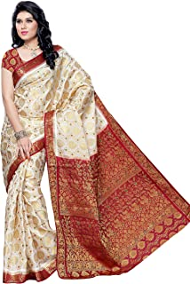 MIMOSA Womens Tassar Wedding Silk Saree White(3050-65-HLFWHITEMARUN)