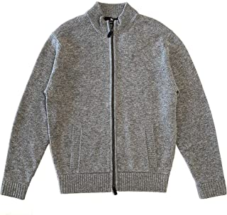 Men's Wool Cashmere Blend Zip up Cardigan Sweater in Steel Color, Size M